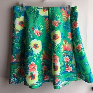 Green Blue Hawaiian Floral Skater Circle Skirt